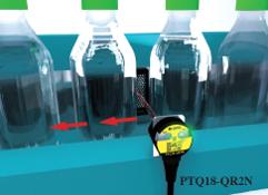 Wykrywanie butelek na szybkim przenośniku.